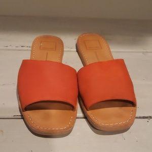 Dolce vita orange suede slides